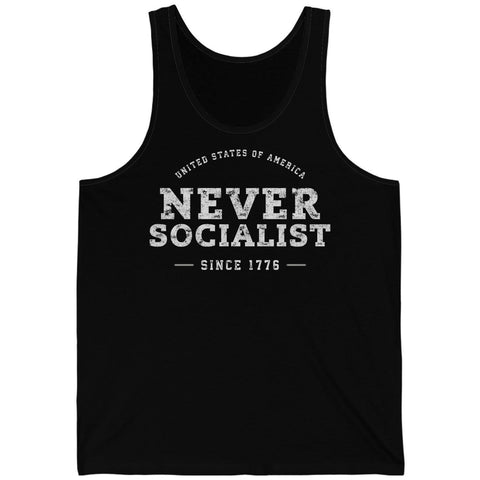 Image of USA - Never Socialist - Since 1776 Unisex Jersey Tank
