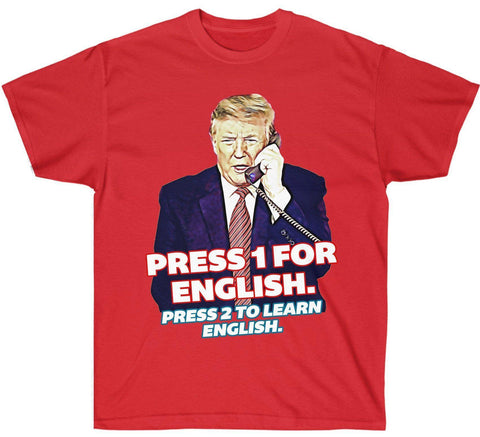 Image of Press 1 for English. Press 2 to Learn English Premium Shirt