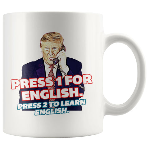 Press 1 for English. Press 2 to Learn English Mug