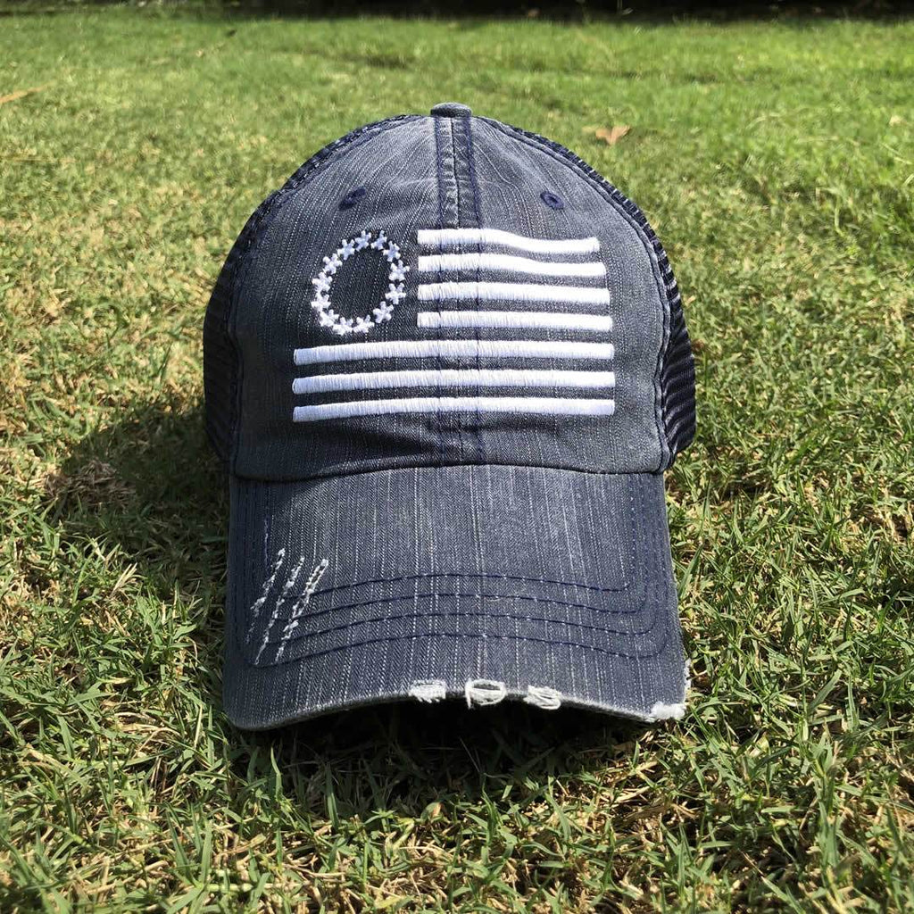 Betsy Ross Flag Distressed Trucker Hat