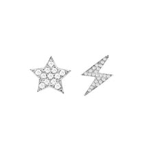 14K GOLD DIAMOND STAR AND LIGHTNING MISMATCHED STUDS