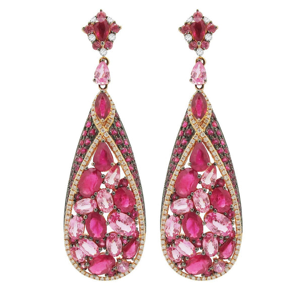 18K ROSE GOLD DIAMOND RUBY PINK SAPPHIRE AVIVA EARRINGS