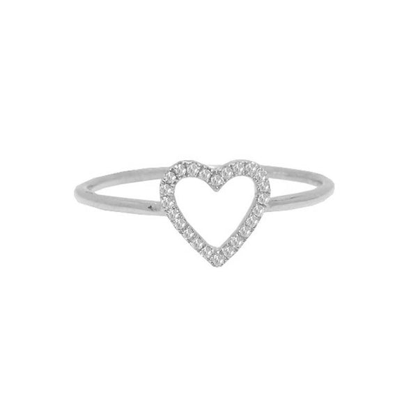 14K GOLD DIAMOND CUTOUT HEART RING (ALL COLORS)