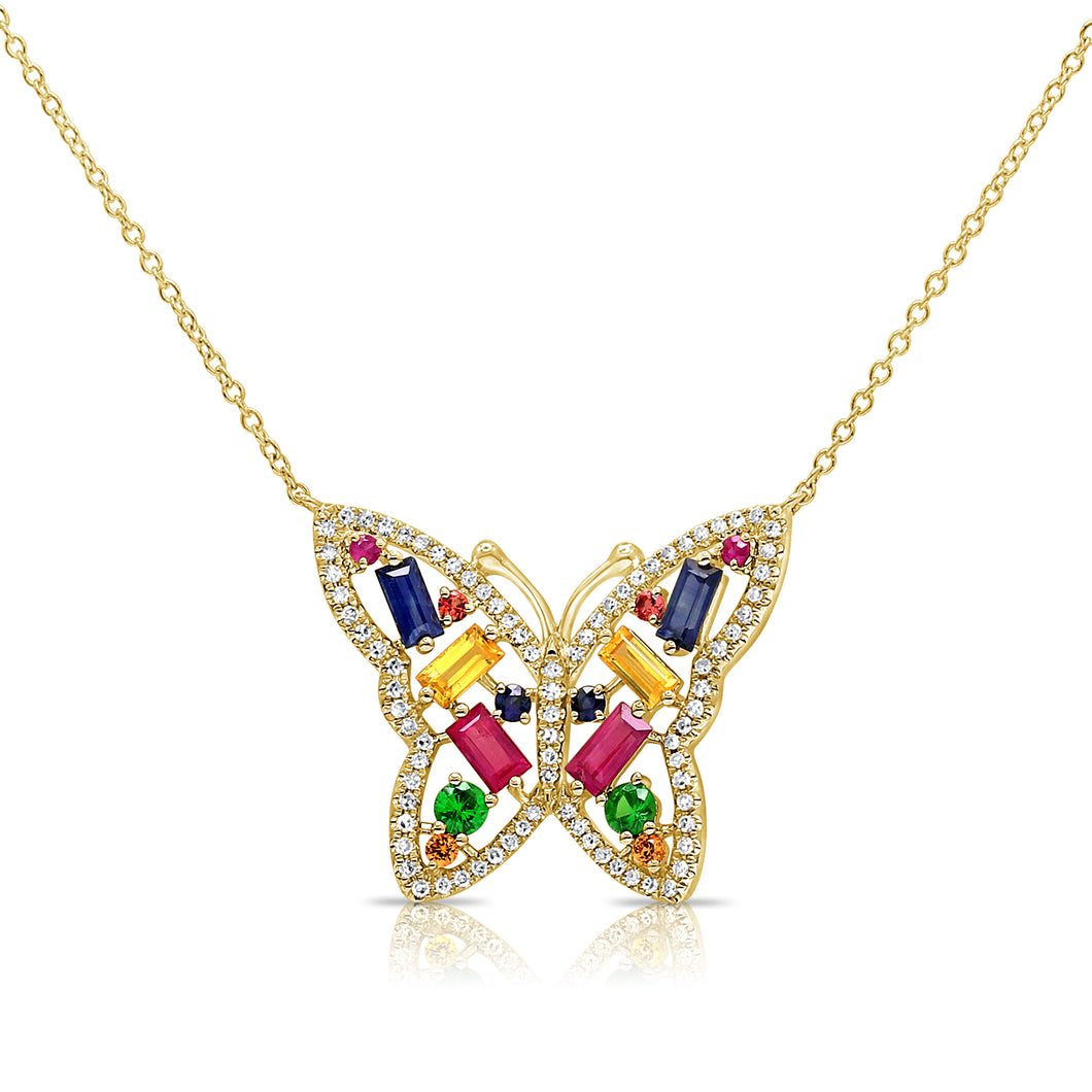 14K GOLD DIAMOND AMEILA MULTICOLOR BUTTERFLY NECKLACE