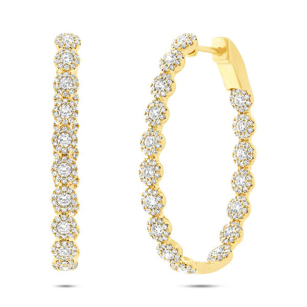14K GOLD DIAMOND RIVA OVAL HOOPS
