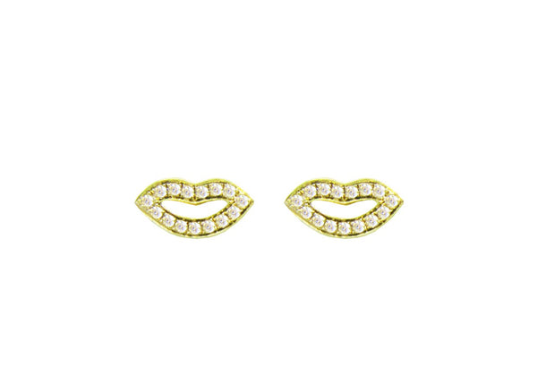 14K YELLOW GOLD DIAMOND MINI JEMMA LIPS STUDS