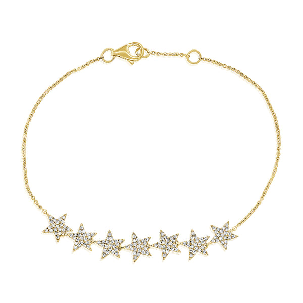 14K GOLD DIAMOND DEMI STAR BRACELET