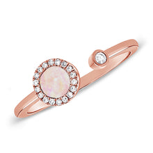 14K GOLD DIAMOND AND PINK MOTHER OF PEARL LIELLE OPEN CIRCLE RING
