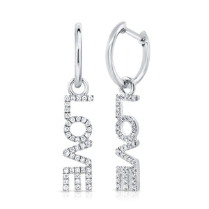 14K WHITE GOLD DIAMOND HANGING LOVE EARRING