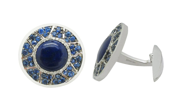 14K WHITE GOLD DIAMOND LAPIS SAPPHIRE MICHAEL CUFFLINKS
