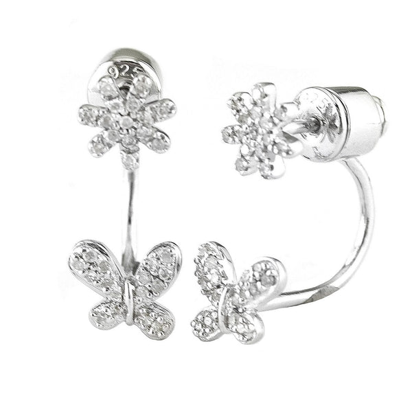 Diamond Flower and Butterfly Over Under Earrings in Sterling Silver