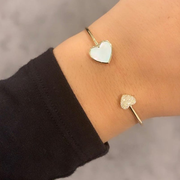 14K GOLD DIAMOND AND MOTHER OF PEARL ABBY HEART BANGLE