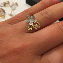 14K YELLOW GOLD DIAMOND BUTTERFLY FLOWER RING