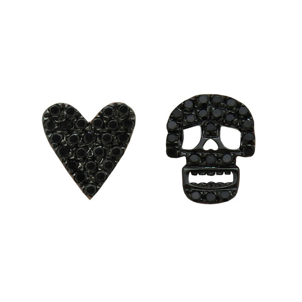 14K GOLD DIAMOND HEART AND SKULL STUDS