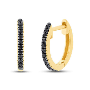 Black Diamond Huggie Earrings in 14k Gold