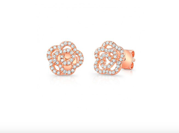14K GOLD DIAMOND CAMILIA FLOWER STUDS (ALL COLORS)