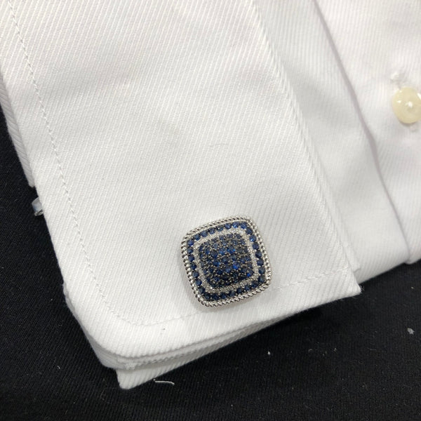 14K GOLD DIAMOND AND BLUE SAPPHIRE GABRIEL CUFFLINKS