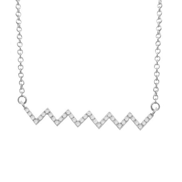 14K GOLD DIAMOND ZIGZAG BAR NECKLACE (ALL COLORS)