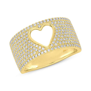 Diamond Heart Monica Ring in 14k White Gold