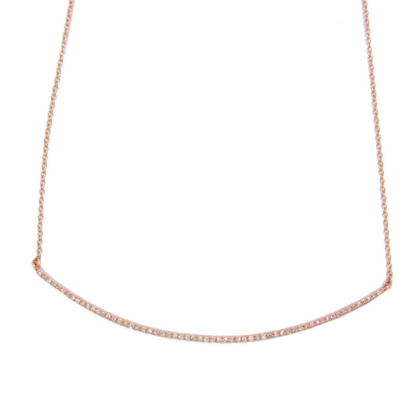 14K GOLD DIAMOND CURVED BAR NECKLACE (ALL COLORS)