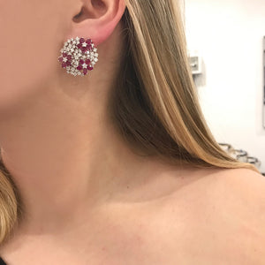 18K GOLD DIAMOND RUBY SYDNEY EARRINGS