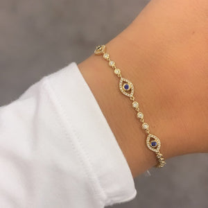 14K GOLD DIAMOND TOVA EYE BRACELET