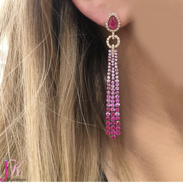 14K ROSE GOLD PINK SAPPHIRE GIADA EARRINGS
