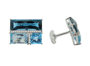 14K WHITE GOLD DIAMOND BLUE TOPAZ WATSON CUFFLINKS