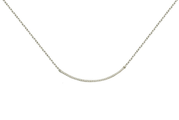 Diamond Crescent Necklace in Sterling Silver