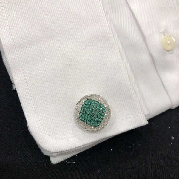 14K WHITE GOLD DIAMOND EMERALD MARC CUFFLINKS