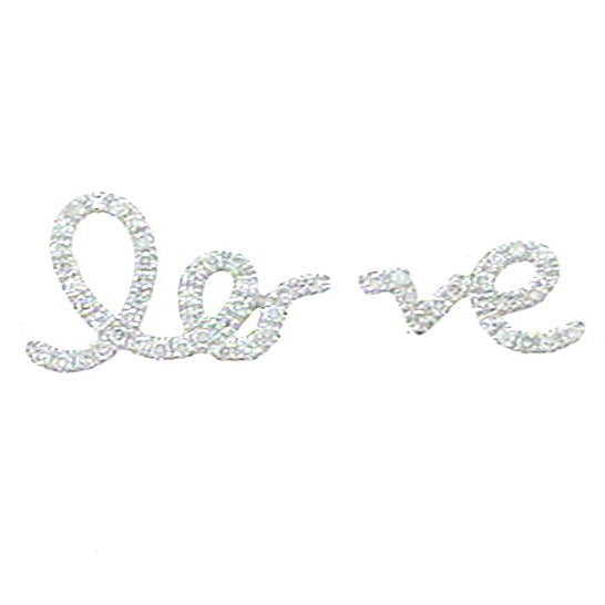 14K GOLD DIAMOND LO VE SCRIPT STUDS