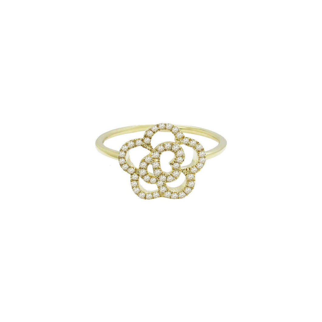 14K GOLD DIAMOND CAMILIA RING  (ALL COLORS)