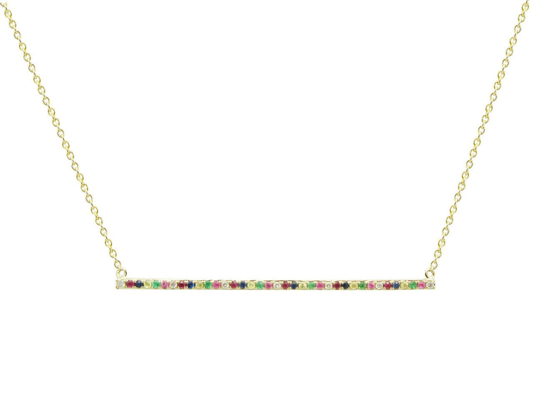 14K YELLOW GOLD DIAMOND RAINBOW BAR NECKLACE