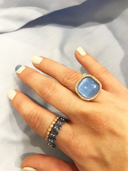 14K GOLD DIAMOND BLUE SAPPHIRE MADDY RING