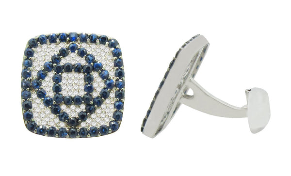 14K WHITE GOLD DIAMOND SAPPHIRE JASON CUFFLINKS