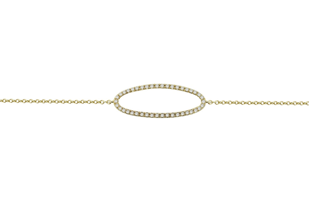 14K GOLD DIAMOND OPEN OVAL BRACELET (ALL COLORS)