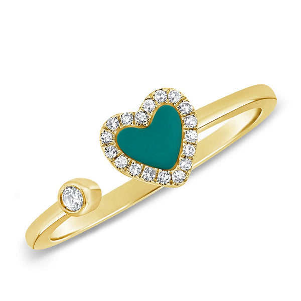 14K GOLD DIAMOND AND TURQUOISE HAILEY OPEN HEART RING