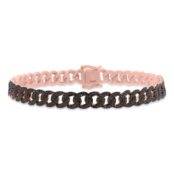 14K ROSE GOLD BLACK DIAMOND CHAIN BRACELET
