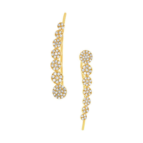 14K GOLD DIAMOND CIRCLE EAR CRAWLERS