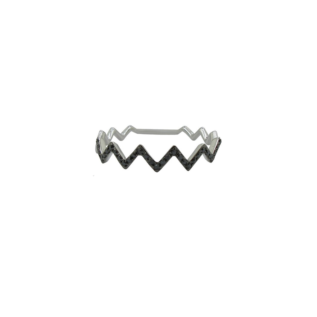 14K WHITE GOLD BLACK DIAMOND ZIGZAG RING