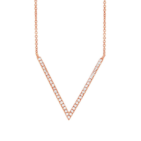 14K ROSE GOLD DIAMOND V NECKLACE
