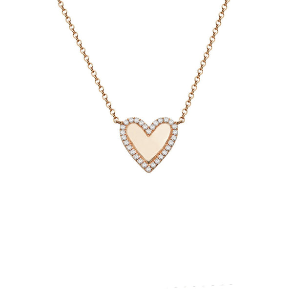 14K GOLD DIAMOND KENDALL HEART NECKLACE (ALL COLORS)