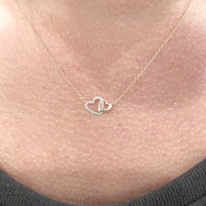 14K GOLD DIAMOND DOUBLE HEART NECKLACE (ALL COLORS)