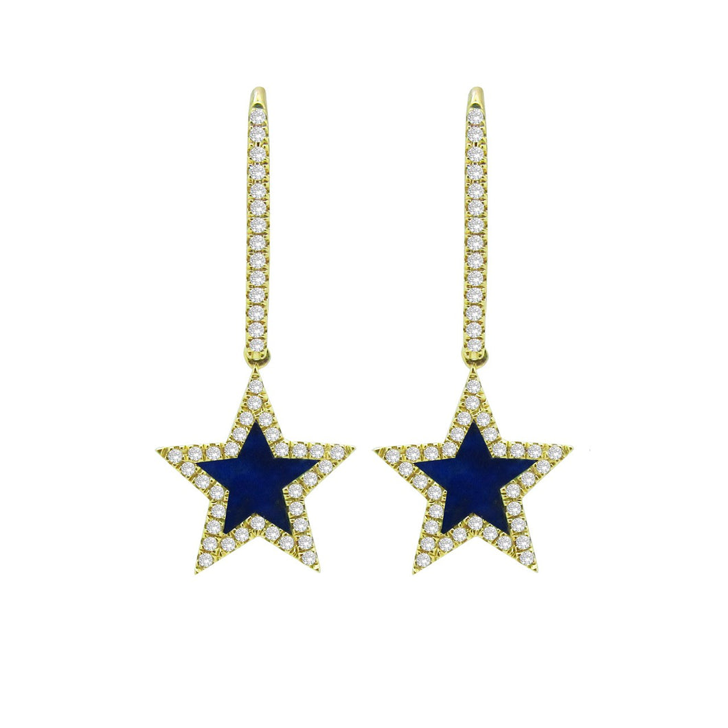 14K GOLD DIAMOND LAPIS STAR EARRINGS