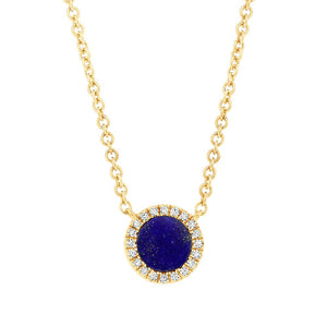 Diamond and Lapis Circle Necklace in 14k Gold