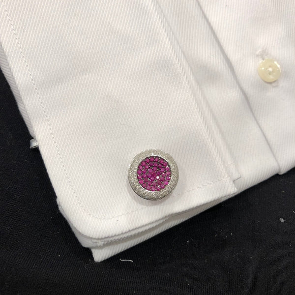 14K GOLD DIAMOND AND RUBY AARON CUFFLINKS