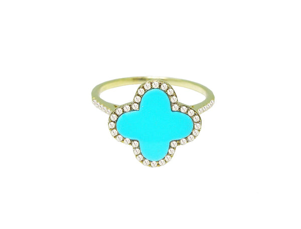 Diamond and Turquoise Clover Ring in 14k Yellow Gold