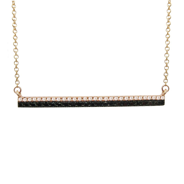 14K ROSE GOLD BLACK/WHITE DIAMOND BAR NECKLACE