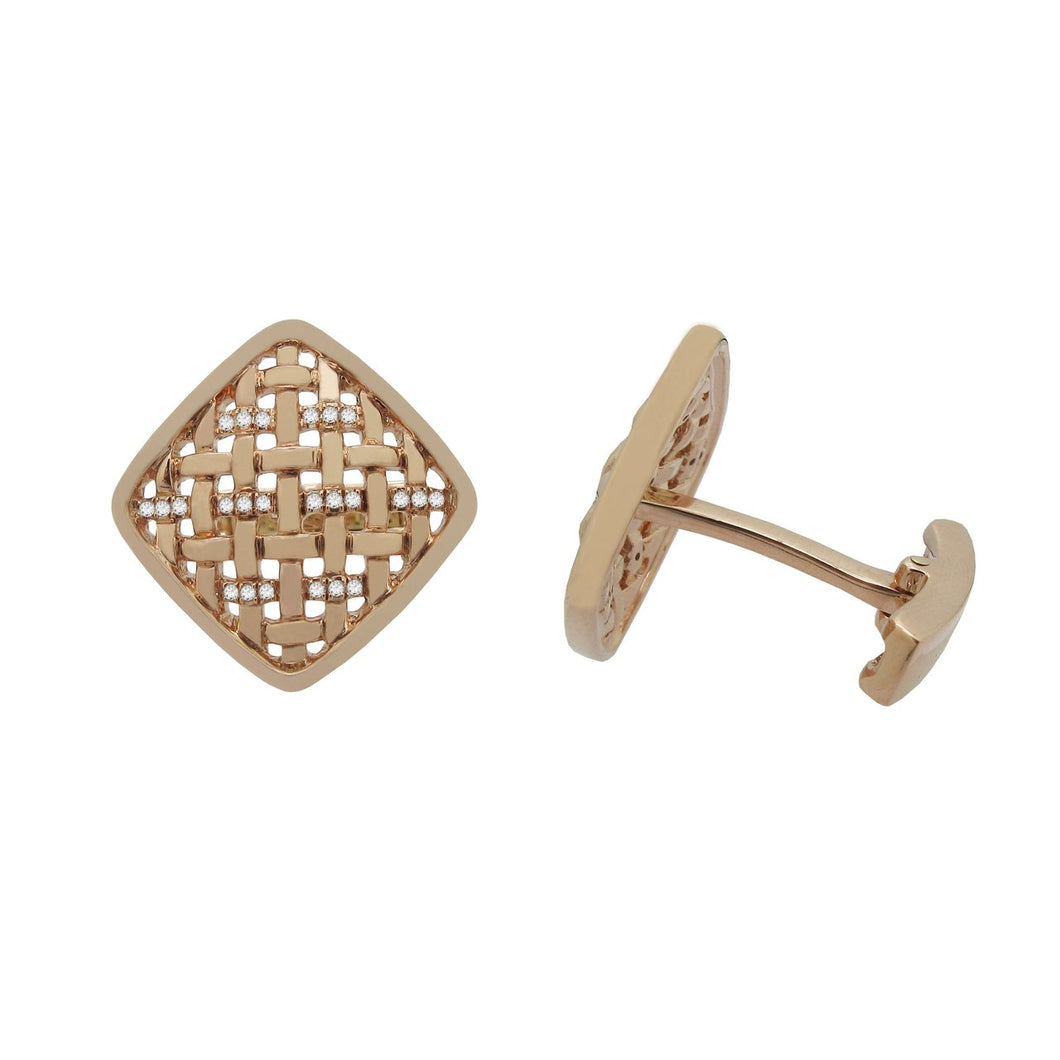 14K ROSE GOLD DIAMOND JOEY CUFFLINKS