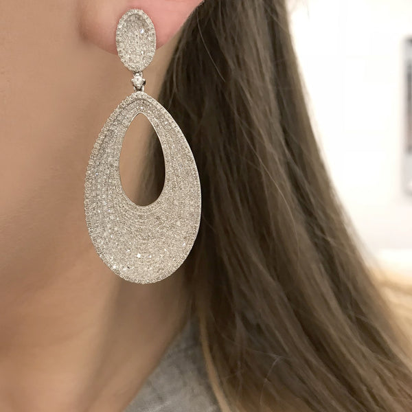 14K WHITE GOLD DIAMOND RHEA EARRINGS
